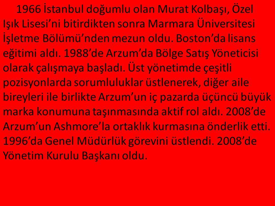 YÖNETİM YAPISI M 1966 İstanbul doğumlu olan Murat Kolbaşı, Özel Işık Lisesi'ni bitirdikten sonra Marmara Üniversitesi İşletme Bölümü'nden mezun oldu.