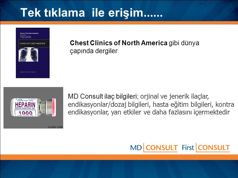 Tek tıklama ile erişim...... MD Consult ilaç bilgileri; orjinal ve jenerik ilaçlar, endikasyonlar/dozaj bilgileri, hasta eğitim bilgileri, kontra endi