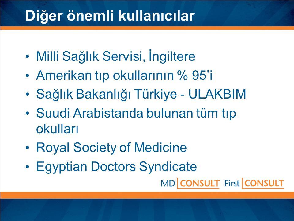 Diğer önemli kullanıcılar Milli Sağlık Servisi, İngiltere Amerikan tıp okullarının % 95'i Sağlık Bakanlığı Türkiye - ULAKBIM Suudi Arabistanda bulunan