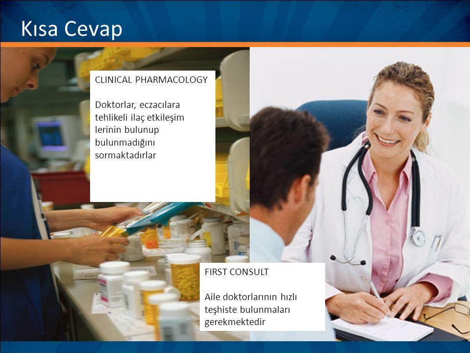 Kısa Cevap CLINICAL PHARMACOLOGY Doktorlar, eczacılara tehlikeli ilaç etkileşim lerinin bulunup bulunmadığını sormaktadırlar FIRST CONSULT Aile doktor