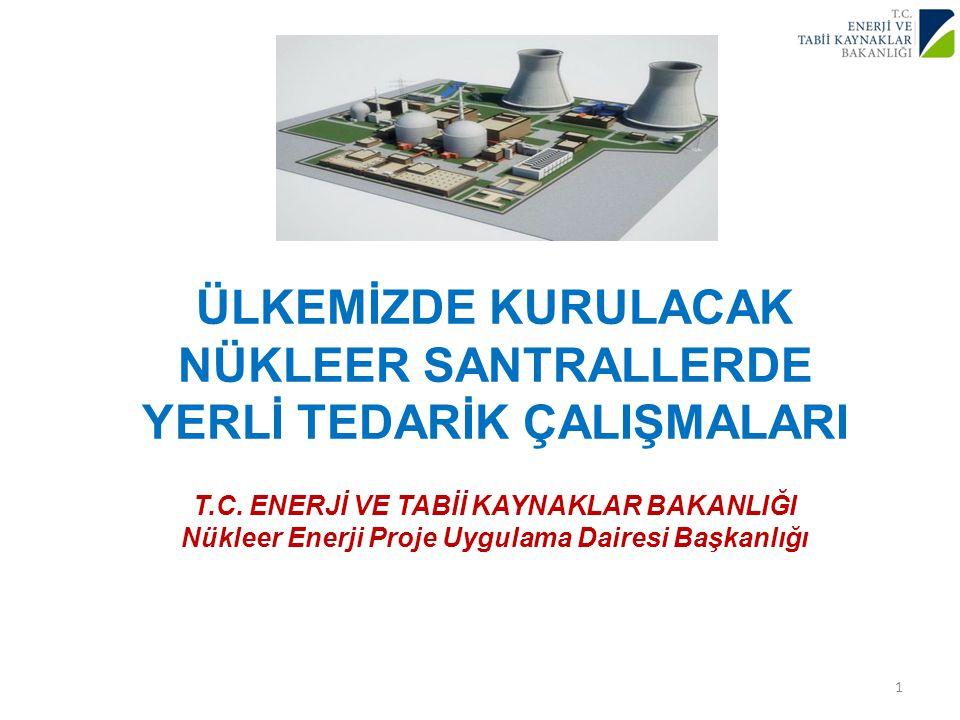ÜLKEMİZDE KURULACAK NÜKLEER SANTRALLERDE YERLİ TEDARİK ÇALIŞMALARI T.C.
