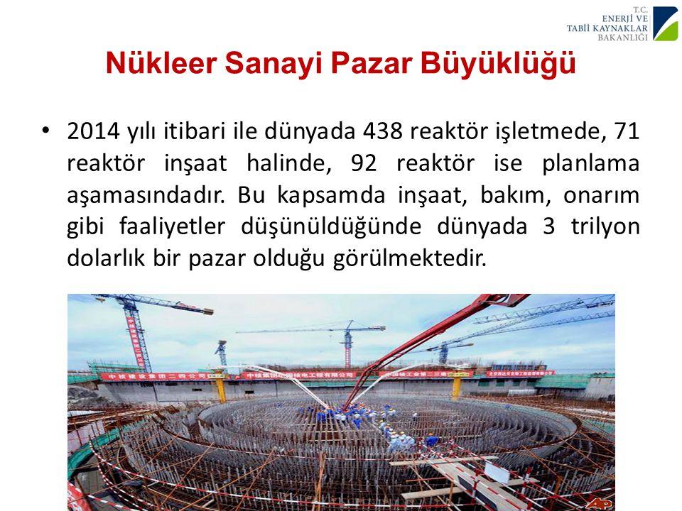 Nükleer Sanayi Pazar Büyüklüğü 2014 yılı itibari ile dünyada 438 reaktör işletmede, 71 reaktör inşaat halinde, 92 reaktör ise planlama aşamasındadır.