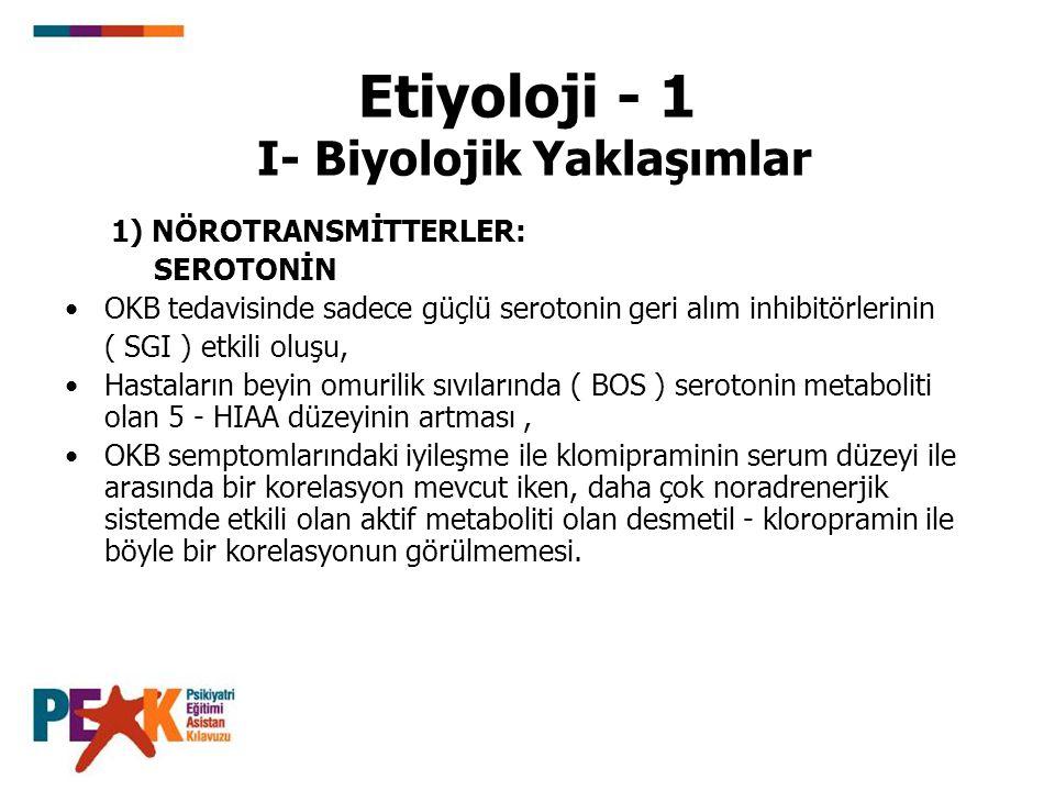 Etiyoloji - 1 I- Biyolojik Yaklaşımlar 1) NÖROTRANSMİTTERLER: SEROTONİN OKB tedavisinde sadece güçlü serotonin geri alım inhibitörlerinin ( SGI ) etki