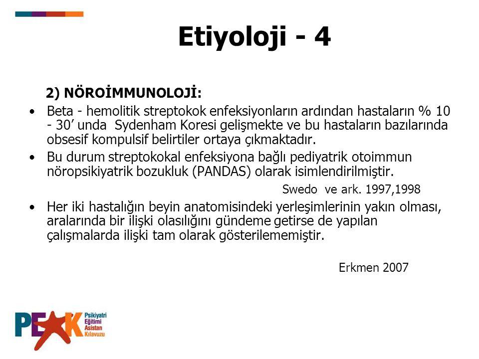 Etiyoloji - 4 2) NÖROİMMUNOLOJİ: Beta - hemolitik streptokok enfeksiyonların ardından hastaların % 10 - 30' unda Sydenham Koresi gelişmekte ve bu hast