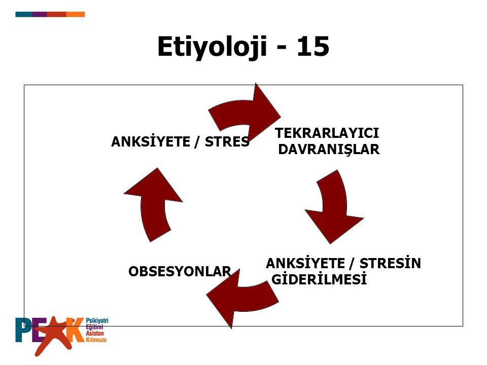 Etiyoloji - 15 TEKRARLAYICI DAVRANIŞLAR ANKSİYETE / STRESİN GİDERİLMESİ OBSESYONLAR ANKSİYETE / STRES