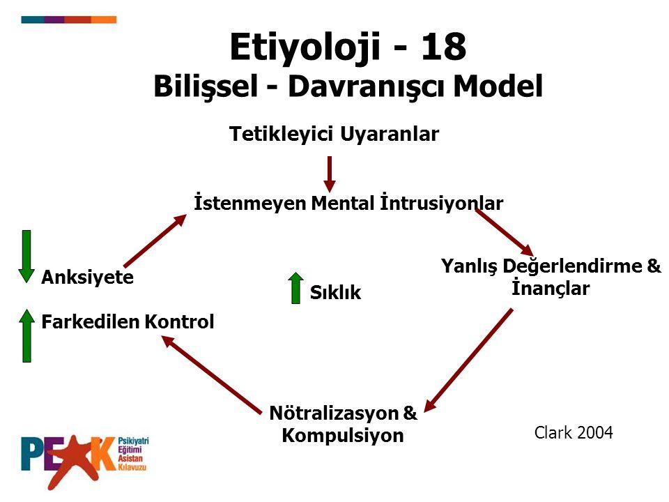 Etiyoloji - 18 Bilişsel - Davranışcı Model Tetikleyici Uyaranlar İstenmeyen Mental İntrusiyonlar Anksiyete Farkedilen Kontrol Sıklık Yanlış Değerlendi