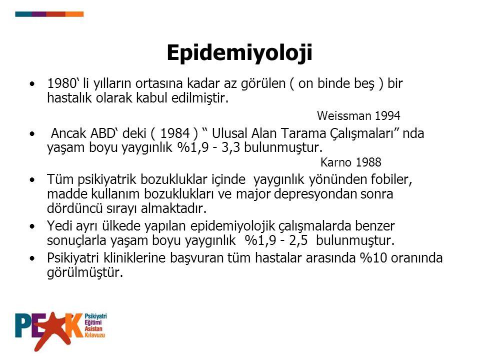 Epidemiyoloji 1980' li yılların ortasına kadar az görülen ( on binde beş ) bir hastalık olarak kabul edilmiştir. Weissman 1994 Ancak ABD' deki ( 1984