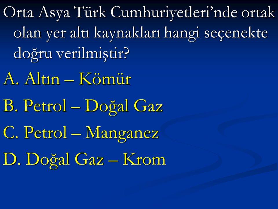 Orta Asya Türk Cumhuriyetleri'nde ortak olan yer altı kaynakları hangi seçenekte doğru verilmiştir? A. Altın – Kömür B. Petrol – Doğal Gaz C. Petrol –
