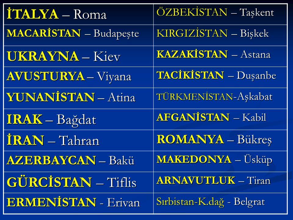 İTALYA – Roma ÖZBEKİSTAN – Taşkent MACARİSTAN – Budapeşte KIRGIZİSTAN – Bişkek UKRAYNA – Kiev KAZAKİSTAN – Astana AVUSTURYA – Viyana TACİKİSTAN – Duşa