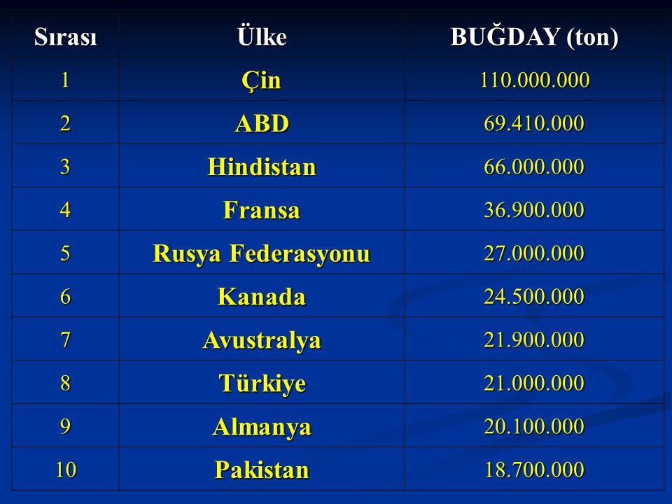 SırasıÜlke BUĞDAY (ton) 1Çin110.000.000 2ABD69.410.000 3Hindistan66.000.000 4Fransa36.900.000 5 Rusya Federasyonu 27.000.000 6Kanada24.500.000 7Avustr
