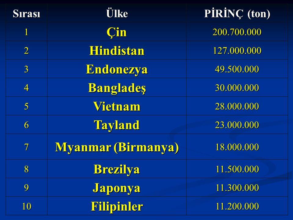 SırasıÜlke PİRİNÇ (ton) 1Çin200.700.000 2Hindistan127.000.000 3Endonezya49.500.000 4Bangladeş30.000.000 5Vietnam28.000.000 6Tayland23.000.000 7 Myanma