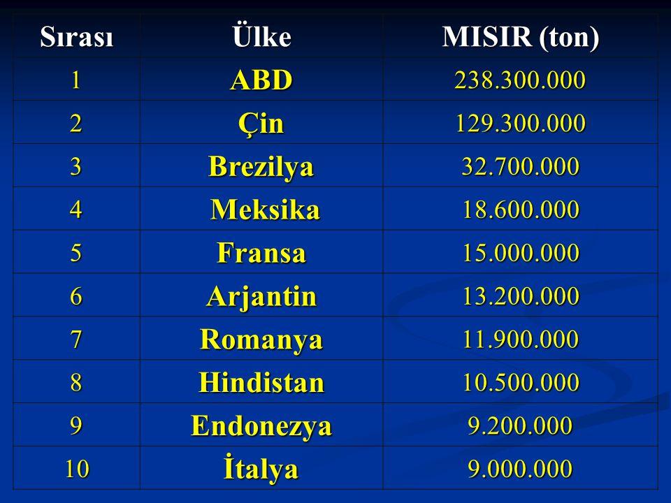 SırasıÜlke MISIR (ton) 1ABD238.300.000 2Çin129.300.000 3Brezilya32.700.000 4 Meksika18.600.000 5Fransa15.000.000 6Arjantin13.200.000 7Romanya11.900.00