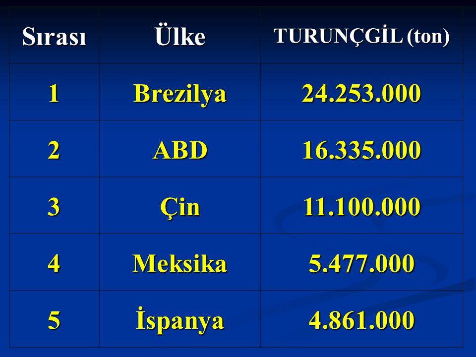 SırasıÜlke TURUNÇGİL (ton) 1Brezilya24.253.000 2ABD16.335.000 3Çin11.100.000 4Meksika5.477.000 5İspanya4.861.000