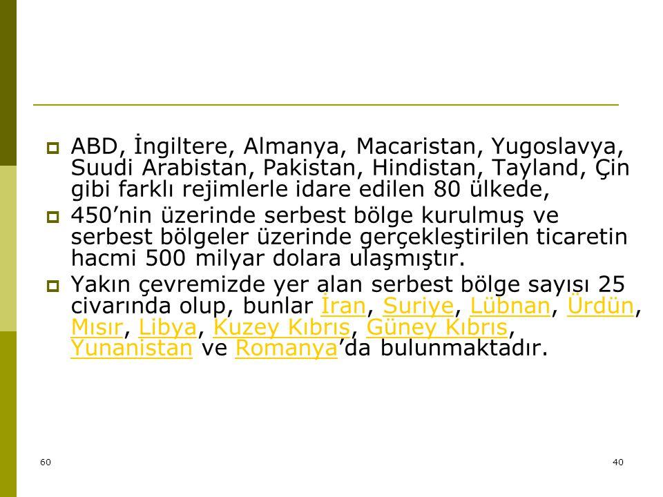 6041 TÜRKİYE' DEKİ SERBEST BÖLGE UYGUYLAMALARI  Serbest Bölgeler Kanunu' nun 2.