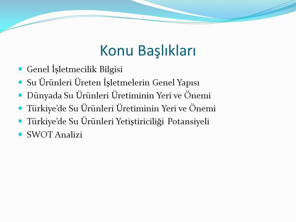 Konu Başlıkları Genel İşletmecilik Bilgisi Su Ürünleri Üreten İşletmelerin Genel Yapısı Dünyada Su Ürünleri Üretiminin Yeri ve Önemi Türkiye'de Su Ürü