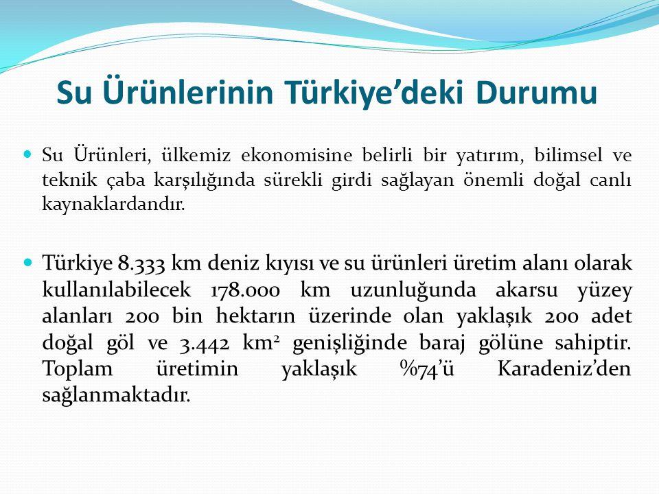 Su Ürünlerinin Türkiye'deki Durumu Su Ürünleri, ülkemiz ekonomisine belirli bir yatırım, bilimsel ve teknik çaba karşılığında sürekli girdi sağlayan ö