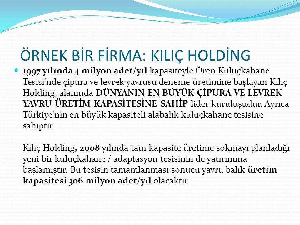 1997 yılında 4 milyon adet/yıl kapasiteyle Ören Kuluçkahane Tesisi'nde çipura ve levrek yavrusu deneme üretimine başlayan Kılıç Holding, alanında DÜNY