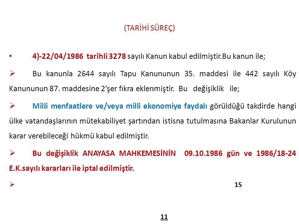 (TARİHİ SÜREÇ) 4)-22/04/1986 tarihli 3278 sayılı Kanun kabul edilmiştir.Bu kanun ile;  Bu kanunla 2644 sayılı Tapu Kanununun 35. maddesi ile 442 sayı