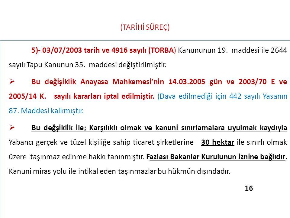 (TARİHİ SÜREÇ) 5)- 03/07/2003 tarih ve 4916 sayılı (TORBA) Kanununun 19. maddesi ile 2644 sayılı Tapu Kanunun 35. maddesi değiştirilmiştir.  Bu değiş
