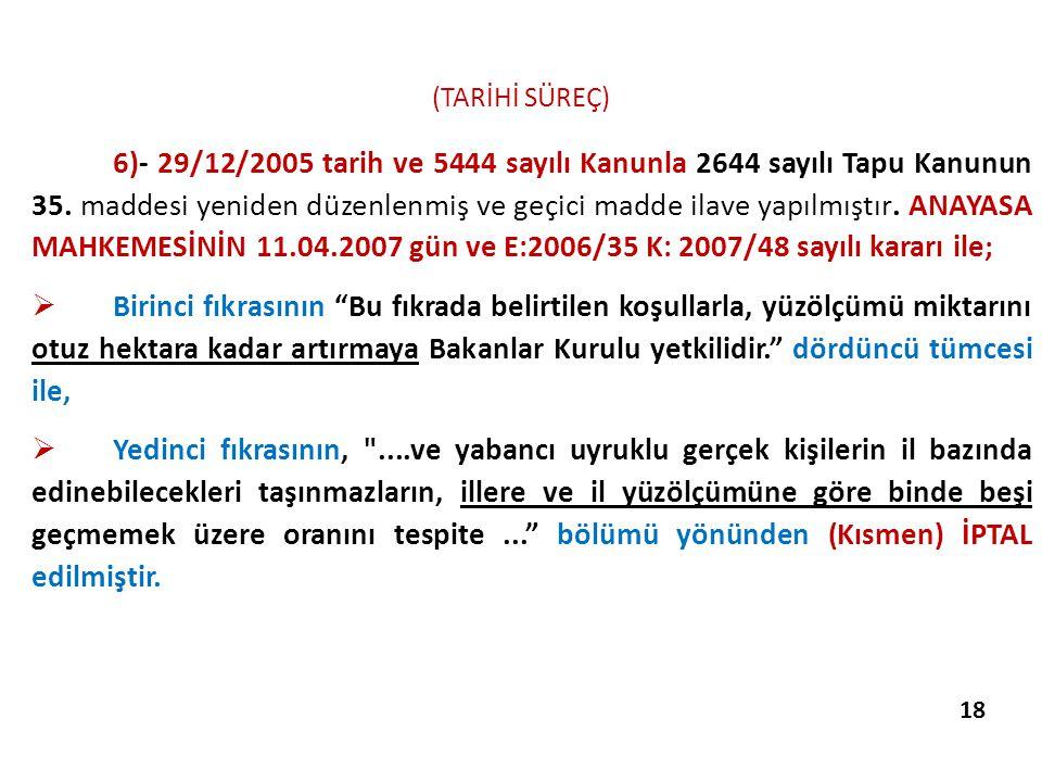 (TARİHİ SÜREÇ) 6)- 29/12/2005 tarih ve 5444 sayılı Kanunla 2644 sayılı Tapu Kanunun 35. maddesi yeniden düzenlenmiş ve geçici madde ilave yapılmıştır.