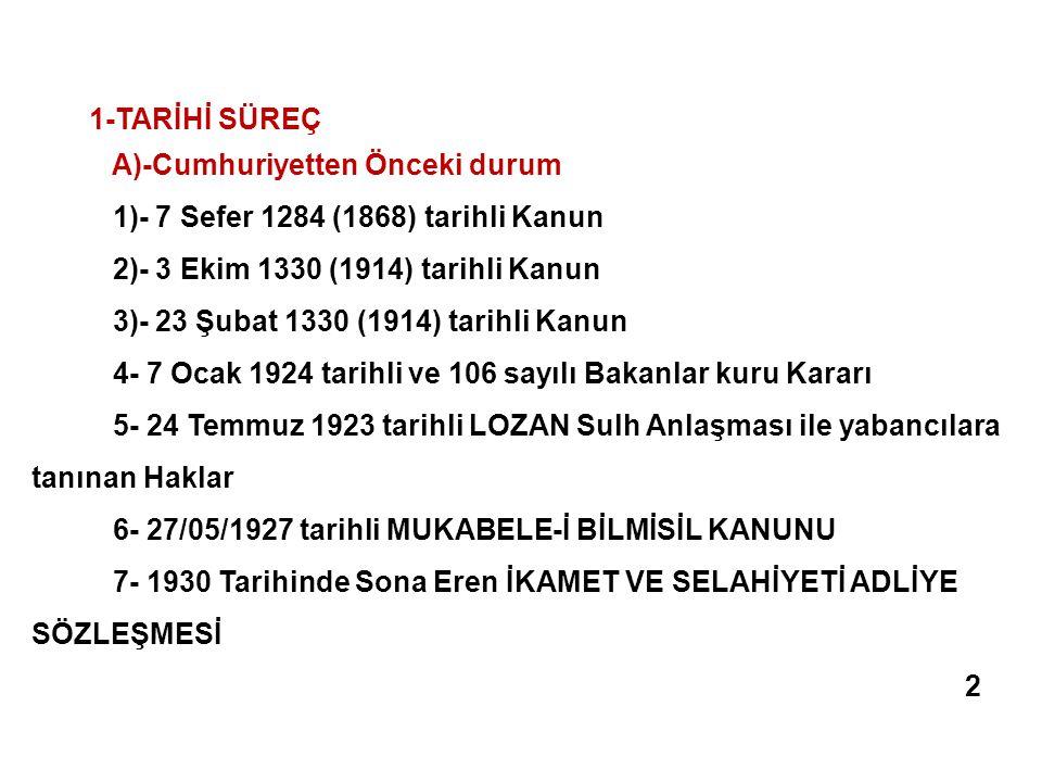 1-TARİHİ SÜREÇ A)-Cumhuriyetten Önceki durum 1)- 7 Sefer 1284 (1868) tarihli Kanun 2)- 3 Ekim 1330 (1914) tarihli Kanun 3)- 23 Şubat 1330 (1914) tarih