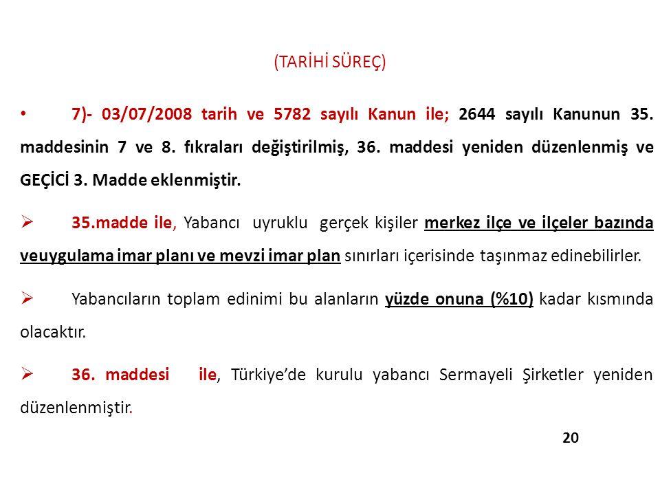 (TARİHİ SÜREÇ) 7)- 03/07/2008 tarih ve 5782 sayılı Kanun ile; 2644 sayılı Kanunun 35. maddesinin 7 ve 8. fıkraları değiştirilmiş, 36. maddesi yeniden