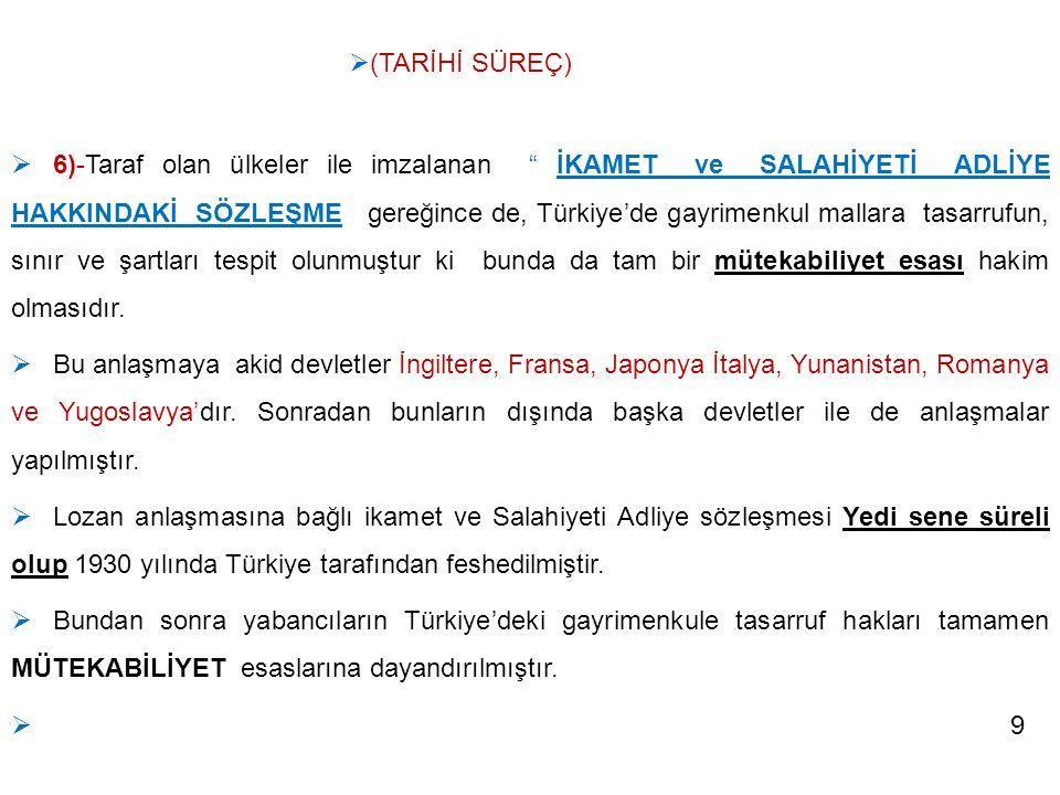 """ 6)-Taraf olan ülkeler ile imzalanan """" İKAMET ve SALAHİYETİ ADLİYE HAKKINDAKİ SÖZLEŞME gereğince de, Türkiye'de gayrimenkul mallara tasarrufun, sınır"""