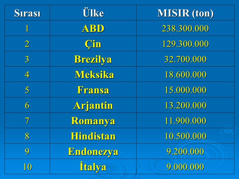 SırasıÜlke MISIR (ton) 1ABD238.300.000 2Çin129.300.000 3Brezilya32.700.000 4 Meksika18.600.000 5Fransa15.000.000 6Arjantin13.200.000 7Romanya11.900.000 8Hindistan10.500.000 9Endonezya9.200.000 10İtalya9.000.000