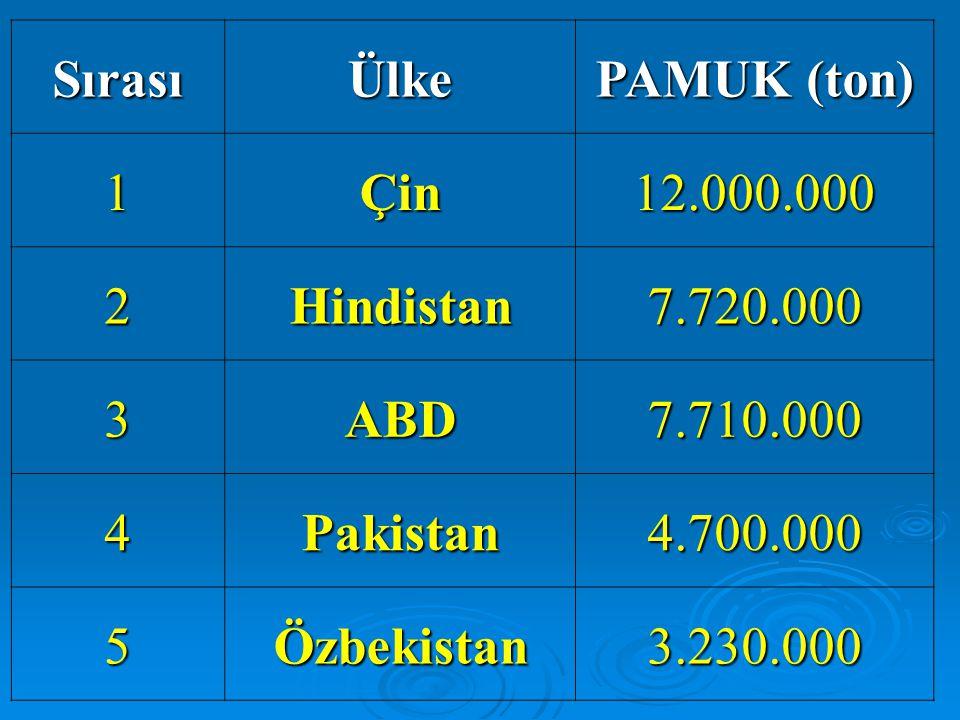 SırasıÜlke PAMUK (ton) 1Çin12.000.000 2Hindistan7.720.000 3ABD7.710.000 4Pakistan4.700.000 5Özbekistan3.230.000