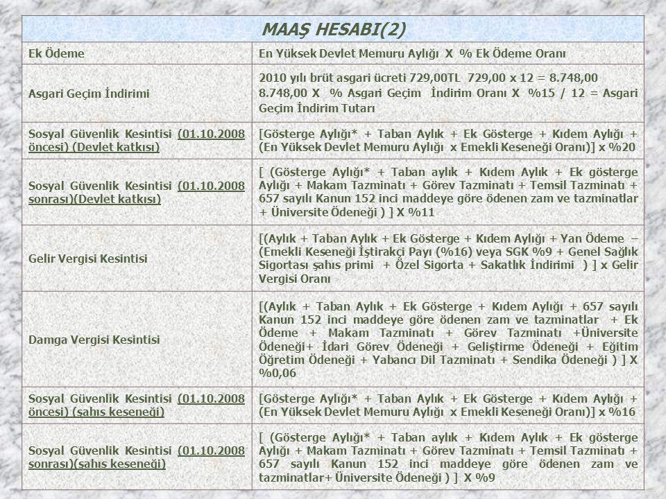 MAAŞ HESABI(2) Ek ÖdemeEn Yüksek Devlet Memuru Aylığı X % Ek Ödeme Oranı Asgari Geçim İndirimi 2010 yılı brüt asgari ücreti 729,00TL 729,00 x 12 = 8.7