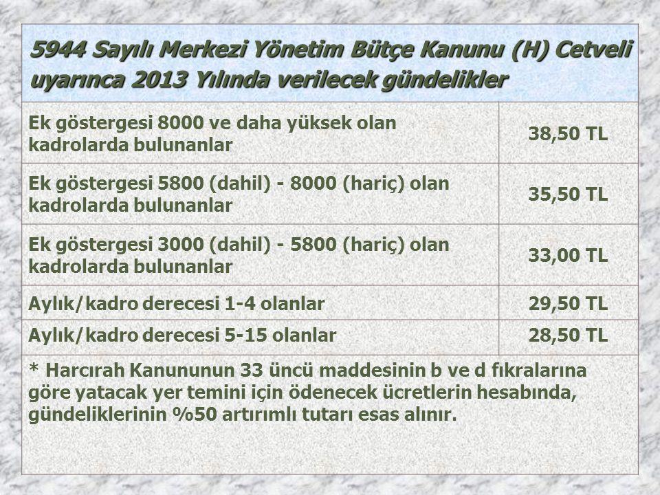 5944 Sayılı Merkezi Yönetim Bütçe Kanunu (H) Cetveli uyarınca 2013 Yılında verilecek gündelikler Ek göstergesi 8000 ve daha yüksek olan kadrolarda bul