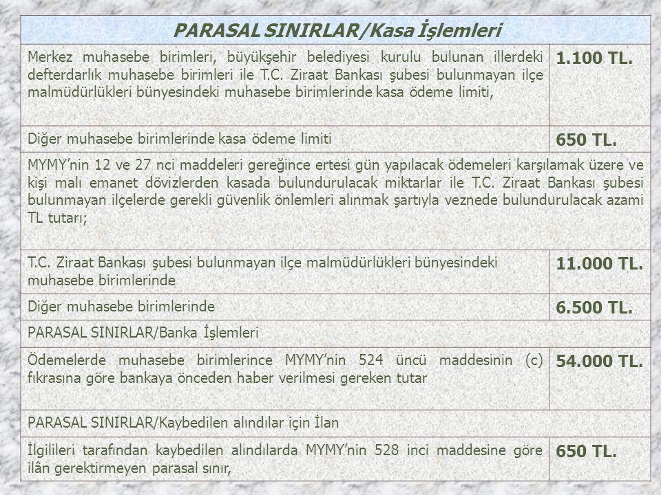 PARASAL SINIRLAR/Kasa İşlemleri Merkez muhasebe birimleri, büyükşehir belediyesi kurulu bulunan illerdeki defterdarlık muhasebe birimleri ile T.C. Zir