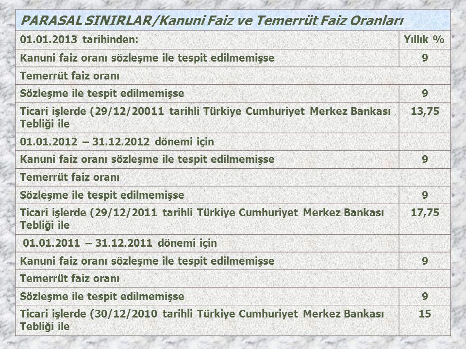 PARASAL SINIRLAR/Kanuni Faiz ve Temerrüt Faiz Oranları 01.01.2013 tarihinden:Yıllık % Kanuni faiz oranı sözleşme ile tespit edilmemişse9 Temerrüt faiz
