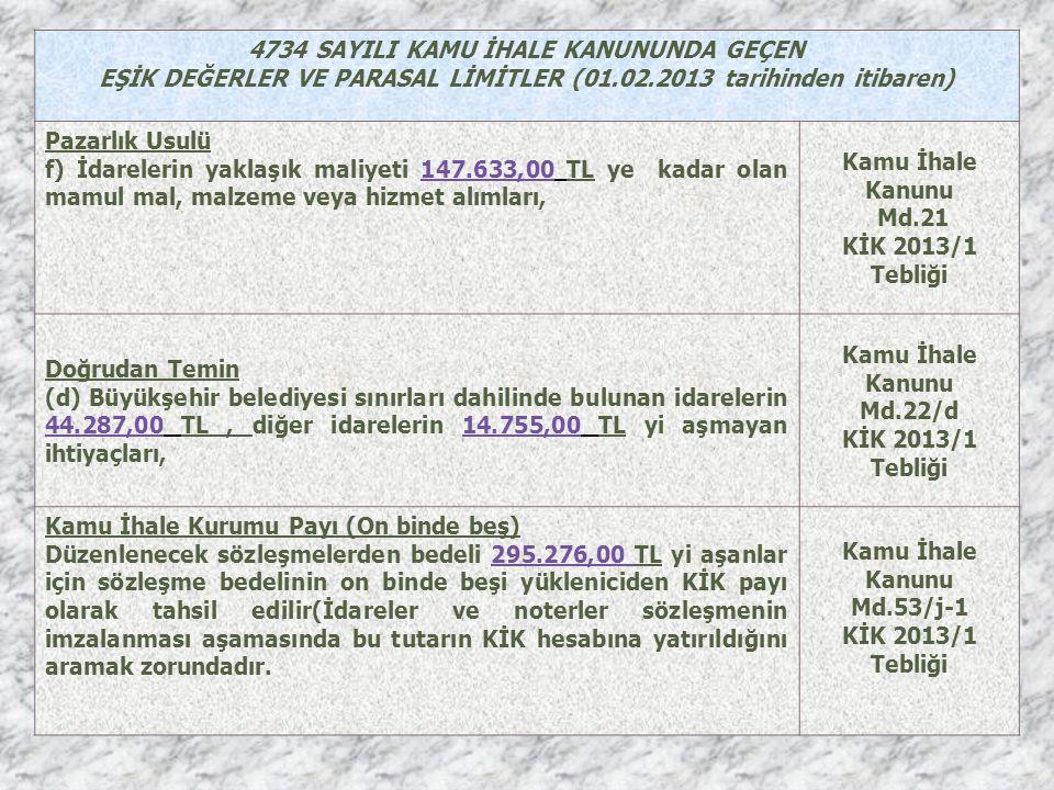 4734 SAYILI KAMU İHALE KANUNUNDA GEÇEN EŞİK DEĞERLER VE PARASAL LİMİTLER (01.02.2013 tarihinden itibaren) Pazarlık Usulü f) İdarelerin yaklaşık maliye