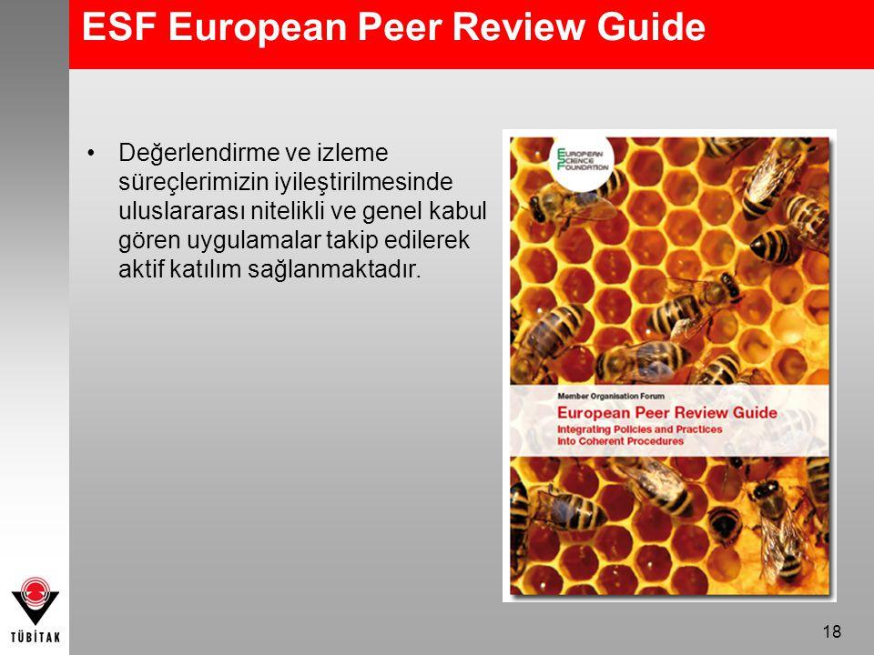 18 ESF European Peer Review Guide Değerlendirme ve izleme süreçlerimizin iyileştirilmesinde uluslararası nitelikli ve genel kabul gören uygulamalar takip edilerek aktif katılım sağlanmaktadır.