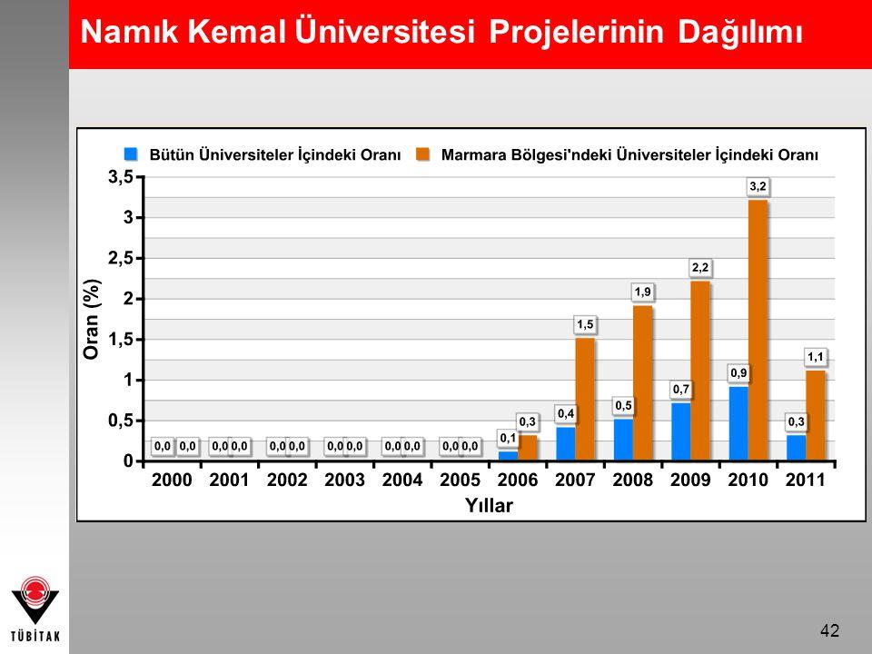 42 Namık Kemal Üniversitesi Projelerinin Dağılımı
