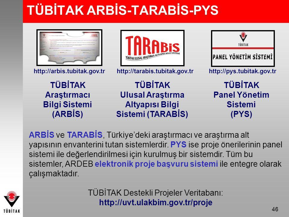 46 TÜBİTAK ARBİS-TARABİS-PYS TÜBİTAK Araştırmacı Bilgi Sistemi (ARBİS) TÜBİTAK Ulusal Araştırma Altyapısı Bilgi Sistemi (TARABİS) ARBİS ve TARABİS, Türkiye'deki araştırmacı ve araştırma alt yapısının envanterini tutan sistemlerdir.