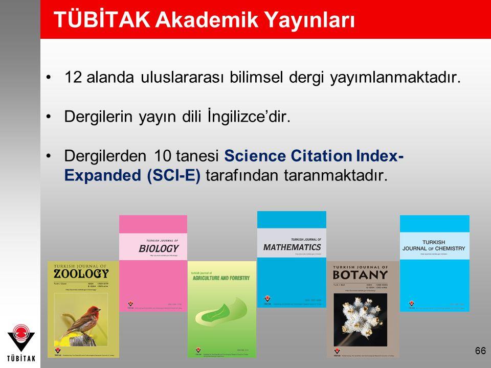 TÜBİTAK Akademik Yayınları 12 alanda uluslararası bilimsel dergi yayımlanmaktadır.