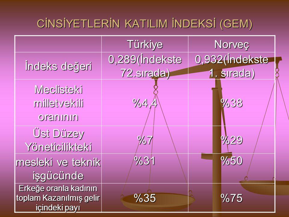 CİNSİYETLERİN KATILIM İNDEKSİ (GEM) TürkiyeNorveç İndeks değeri 0,289(İndekste 72.sırada) 0,932(İndekste 1. sırada) Meclisteki milletvekili oranının %