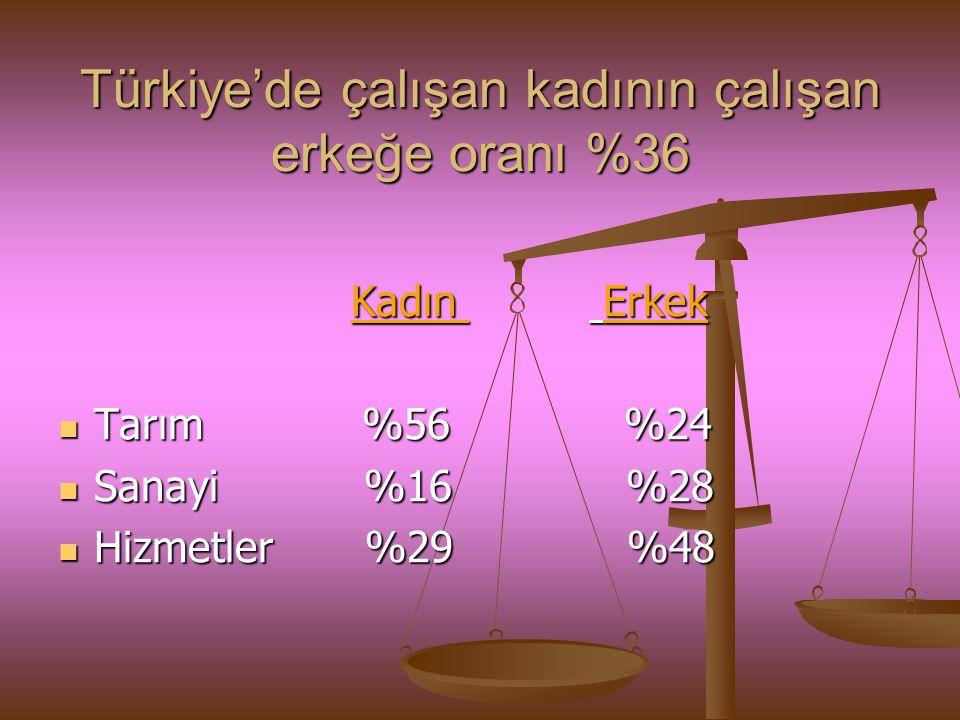 Türkiye'de çalışan kadının çalışan erkeğe oranı %36 Kadın Erkek Kadın Erkek Tarım %56 %24 Tarım %56 %24 Sanayi %16 %28 Sanayi %16 %28 Hizmetler %29 %4