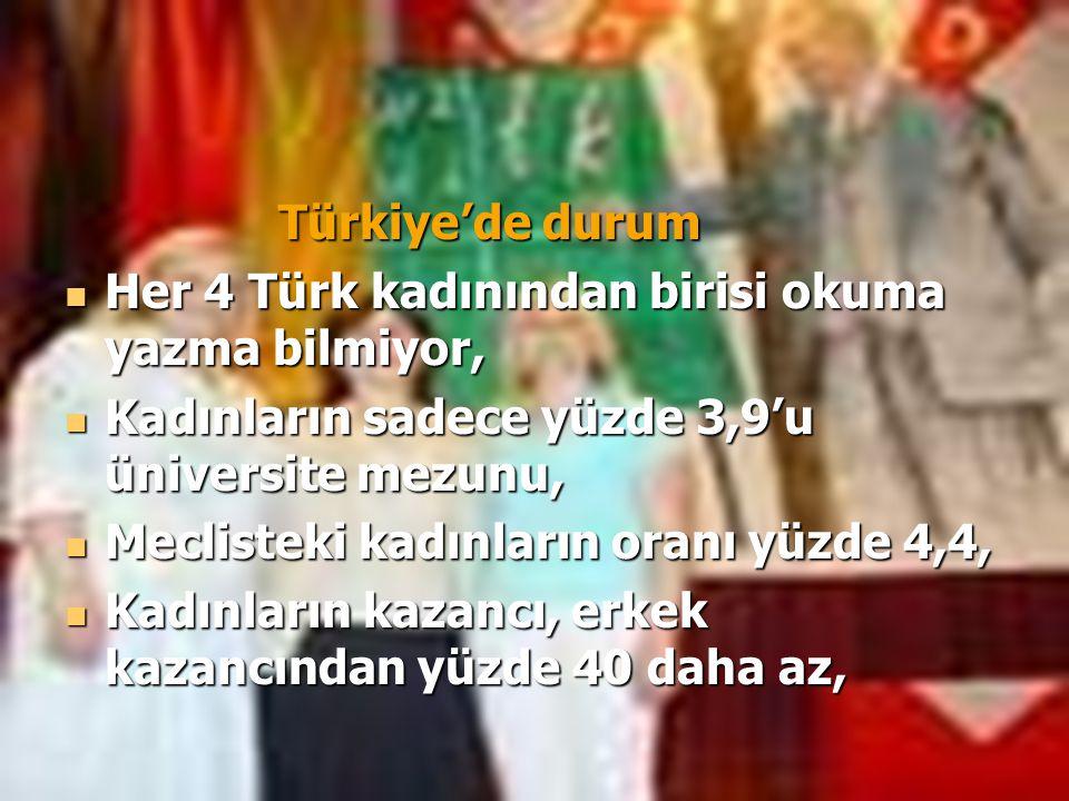 Türkiye'de durum Her 4 Türk kadınından birisi okuma yazma bilmiyor, Her 4 Türk kadınından birisi okuma yazma bilmiyor, Kadınların sadece yüzde 3,9'u ü