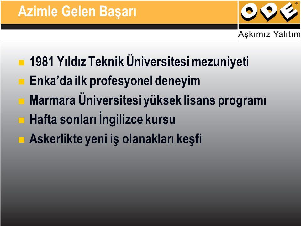 1981 Yıldız Teknik Üniversitesi mezuniyeti Enka'da ilk profesyonel deneyim Marmara Üniversitesi yüksek lisans programı Hafta sonları İngilizce kursu Askerlikte yeni iş olanakları keşfi Azimle Gelen Başarı