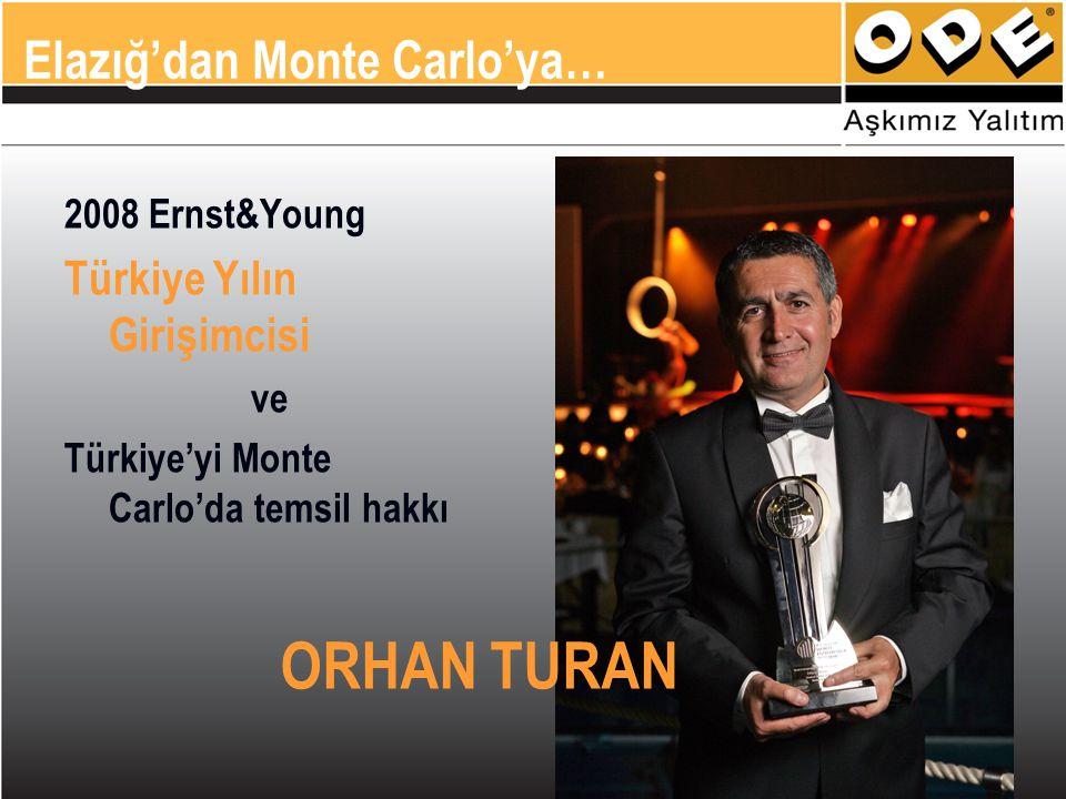 2008 Ernst&Young Türkiye Yılın Girişimcisi ve Türkiye'yi Monte Carlo'da temsil hakkı ORHAN TURAN Elazığ'dan Monte Carlo'ya…