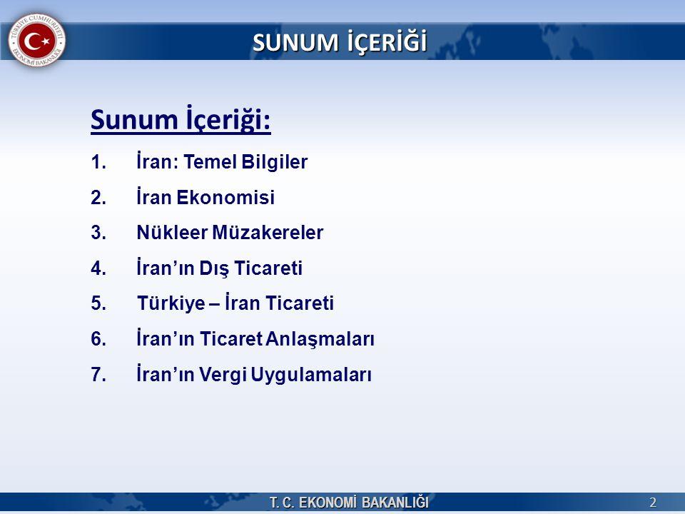 2 Sunum İçeriği: 1.İran: Temel Bilgiler 2.İran Ekonomisi 3.Nükleer Müzakereler 4.İran'ın Dış Ticareti 5.Türkiye – İran Ticareti 6.İran'ın Ticaret Anla