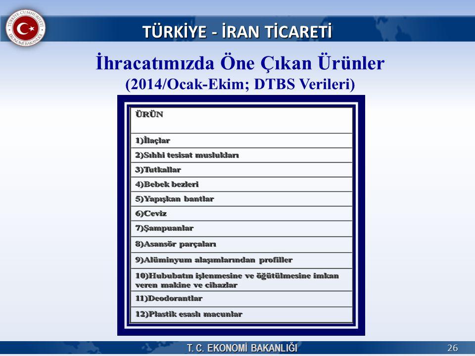 T. C. EKONOMİ BAKANLIĞI 26 TÜRKİYE - İRAN TİCARETİ İhracatımızda Öne Çıkan Ürünler (2014/Ocak-Ekim; DTBS Verileri)