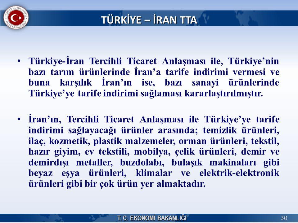 T. C. EKONOMİ BAKANLIĞI 30 TÜRKİYE – İRAN TTA Türkiye-İran Tercihli Ticaret Anlaşması ile, Türkiye'nin bazı tarım ürünlerinde İran'a tarife indirimi v