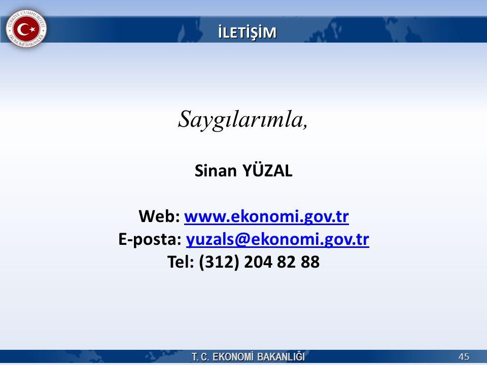 T. C. EKONOMİ BAKANLIĞI 45 Saygılarımla, Sinan YÜZAL Web: www.ekonomi.gov.trwww.ekonomi.gov.tr E-posta: yuzals@ekonomi.gov.tryuzals@ekonomi.gov.tr Tel
