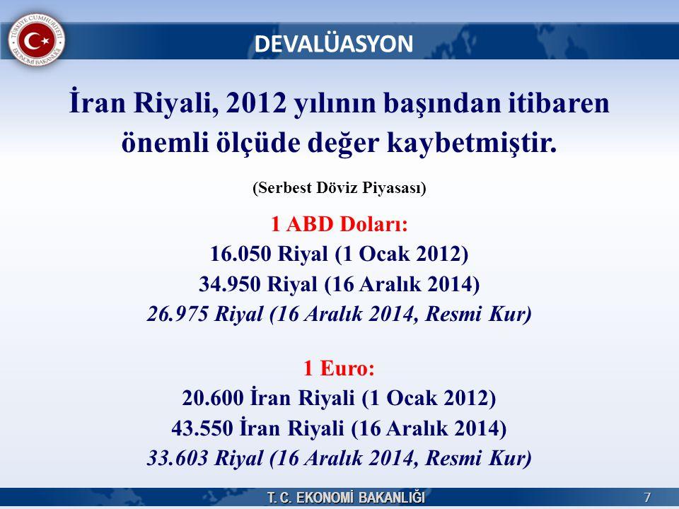 T. C. EKONOMİ BAKANLIĞI 7 DEVALÜASYON T. C. EKONOMİ BAKANLIĞI İran Riyali, 2012 yılının başından itibaren önemli ölçüde değer kaybetmiştir. (Serbest D
