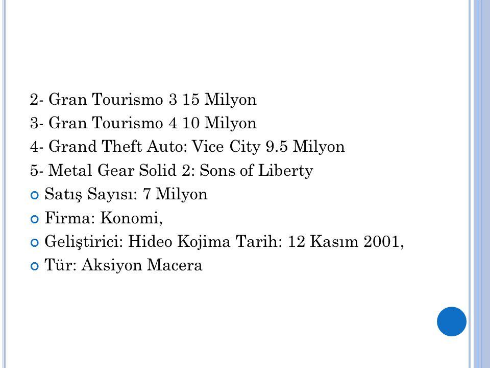 2- Gran Tourismo 3 15 Milyon 3- Gran Tourismo 4 10 Milyon 4- Grand Theft Auto: Vice City 9.5 Milyon 5- Metal Gear Solid 2: Sons of Liberty Satış Sayıs