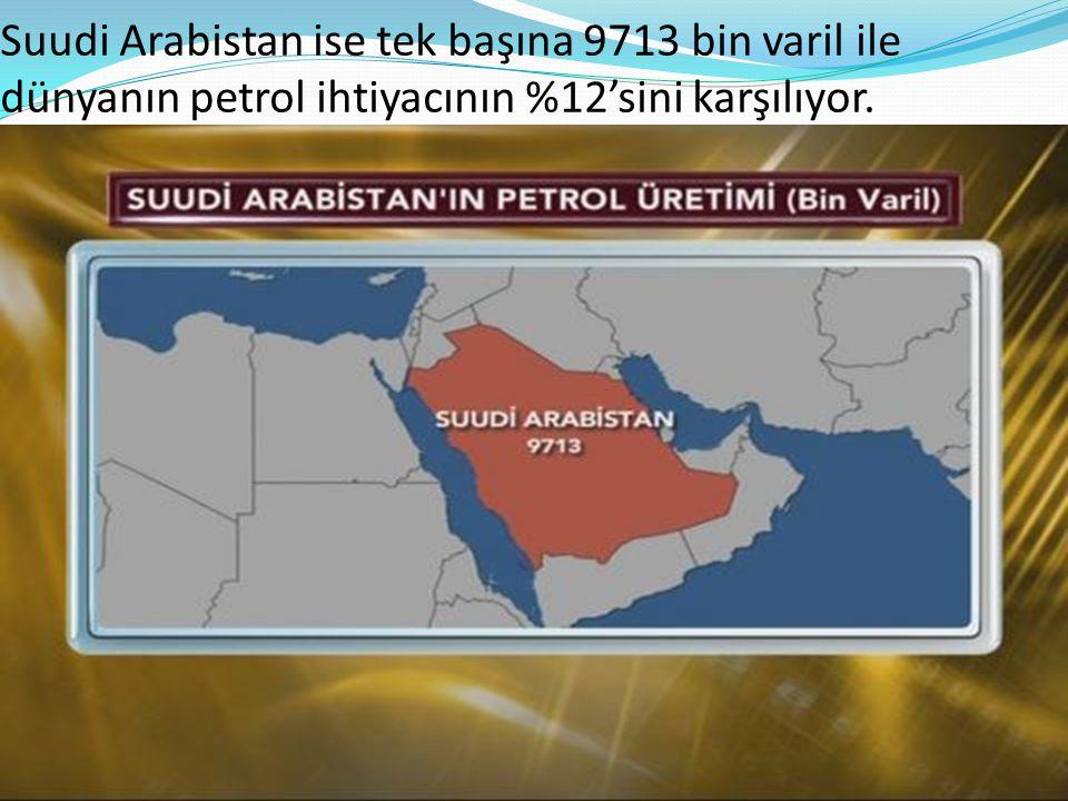 Suudi Arabistan ise tek başına 9713 bin varil ile dünyanın petrol ihtiyacının %12'sini karşılıyor.